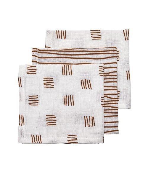 Meyco| Monddoekjes block stripe camel (3 pack). Kraamkado