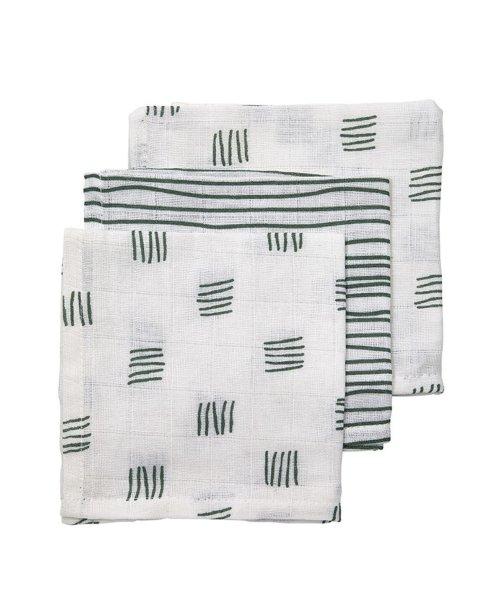 KRAAMKADO. Meyco | Monddoekjes block stripe forrest green (3 pack)