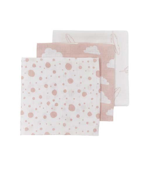 Hydrofiele monddoekjes feathers clouds dots-roze wit-3 stuks